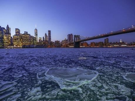 Frozen East River in New York