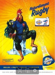 Le coq Orangina, une pin-up animale crĂŠer pour la coupe du monde de rugby 2013