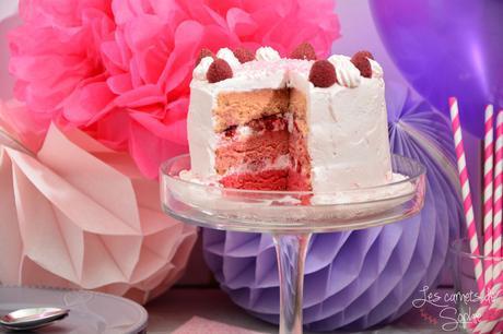 Pink ombre cake aux framboises et à la rose – {Battle Food #29}