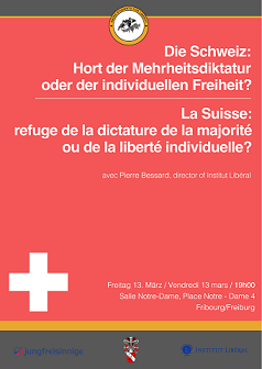 Pierre Bessard, invité des Swiss Students for Liberty, à Fribourg