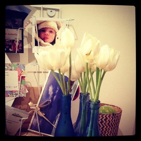 Jaune inside the tulip et soliflores dans l'entrée (14 mars)