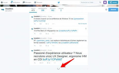Exemple de scroll infini sur Twitter
