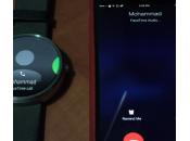 Smartwatch Moto affiche appel reçu iPhone