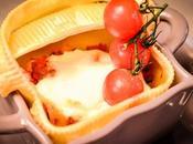 Caccavelles farcies courgette, poivron chorizo, crème parmesan