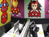 supers héros géants réalisés avec Post-it