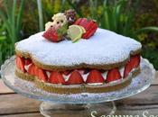 Dacquoise fraises, crème mascarpone citron vert