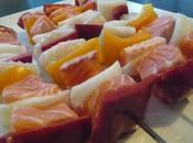 Brochettes Saumon Loup, Sauce Pimentée