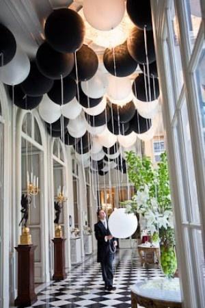 dcoration de salle de mariage en noir et blanc
