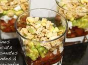 Verrines d'avocats tomates marinées coriandre, brebis crumble