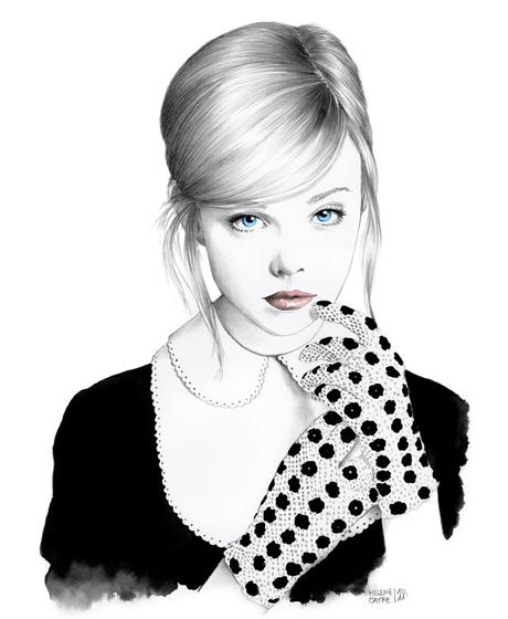 Fashion illustrations and portraits drawn by Hélène Cayre