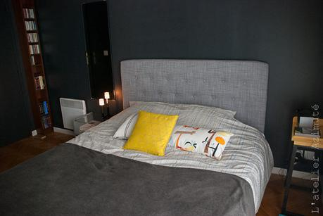 une chambre moderne en gris et jaune relooking paperblog. Black Bedroom Furniture Sets. Home Design Ideas