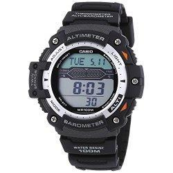 This Casio Collection mens watch has a LCD dial, a digital date display, a chronograph and a Barometer, Altimeter and a Thermometer. The watch is set in a stainless steel case with a black resin layer and a black synthetic strap. CASIO   L'histoire ...