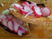 Tartine simit, radis beurre d'oignon rouge