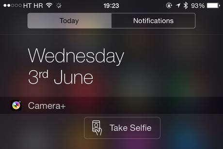 Ajout du bouton Selfie dans le widget de Centre de notifications pour Camera+ sur iPhone
