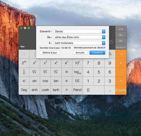 Astuce El Capitan : activer la calculatrice scientifique et autres calculs