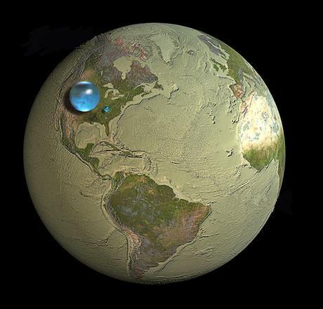 l'eau terrestre concentrée dans une sphère