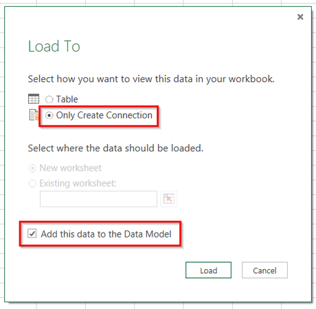 Load to data model