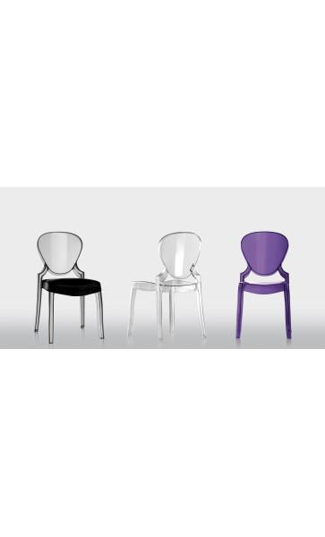 lot de 4 chaises queen transparente pedrali