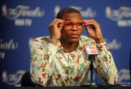 Jun 12, 2012; Oklahoma City, OK, USA; Oklahoma City Thunder point guard Russell Westbrook during the post game press conference after game one in the 2012 NBA Finals at Chesapeake Energy Arena. The Thunder beat the Miami Heat 105-94. Mandatory Credit: Mark D. Smith-US PRESSWIRE ORG XMIT: USPW-90134