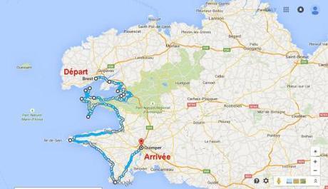 Itinéraire Brest Quimper