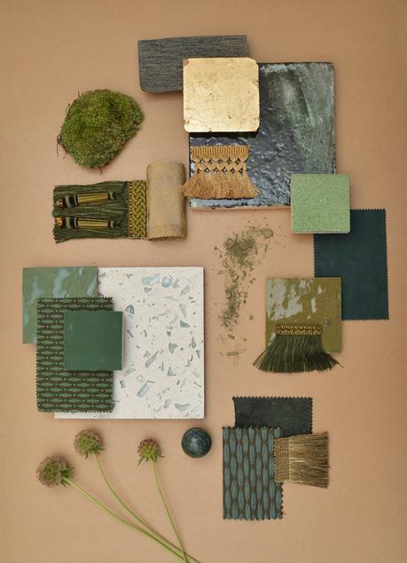 Palette Le Nu Sauvage, Green Material board, Interior Design Paris / Planche matériaux