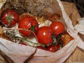 Papillote cabillaud thym-romarin, tomates grappe figues rôties beurre salé.