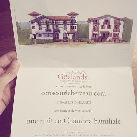 Week-end à l'hôtel Les Goélands de St-Jean-de-Luz gagné chez Cerise sur le Berceau