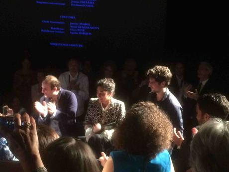 Louis Garrel et ses acteurs Golshifteh Farahani et Vincent Macaigne lors de la projection de son film « Les Deux Amis ». - Espace Miramar, Cannes