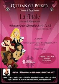 Queens of Poker: tournoi de poker feminin au cercle haussmann