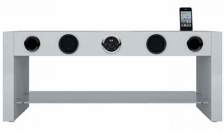 Meuble SoundStand 80, avec un ampli, des enceintes et des connecteurs pour iPhone intégrés