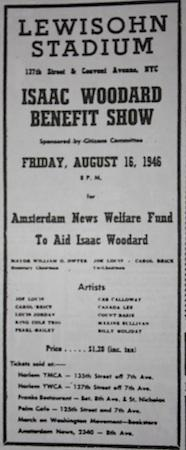 August 16, 1946: concert for Isaac Woodward at the Lewisohn Stadium