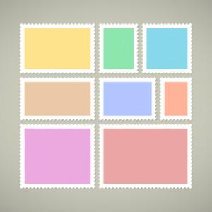 Eight blank postage stamps, vector colored templates with place for your images and text