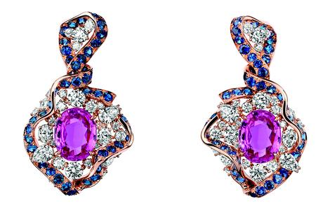 BOUCLES D'OREILLES GALON SAPHIR ROSE 750/1000e or rose, diamants, saphirs roses et saphirs
