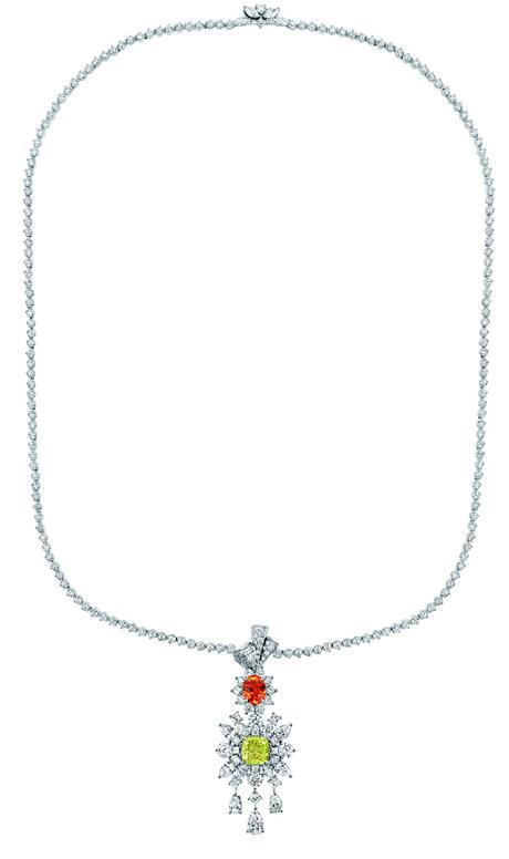 COLLIER PLUMETIS DIAMANT JAUNE JCAD93004 750/1000e or blanc, diamants, diamant jaune et grenat spessartite