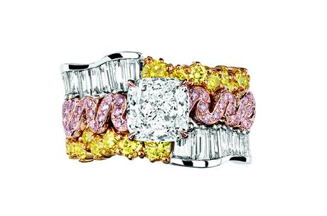 BAGUE TRESSE DIAMANT JCAD93048 750/1000e or rose et jaune, 950/1000e platine, diamants, diamants jaunes et roses