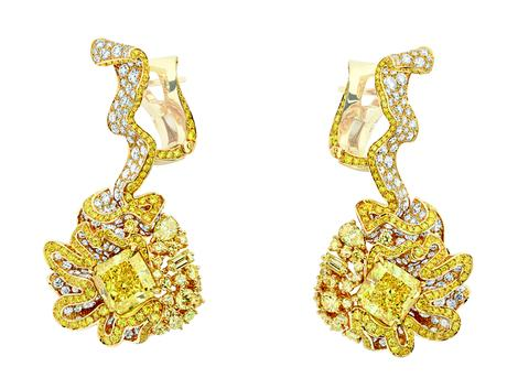 BOUCLES D'OREILLES FRONCE DIAMANT JAUNE750/1000e  or jaune, diamants et diamants jaunes