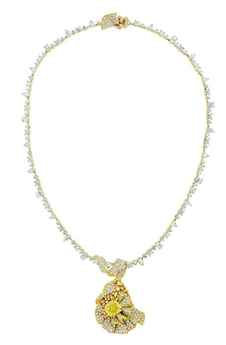 COLLIER FRONCE DIAMANT JAUNE 750/1000e or jaune, diamants et diamants jaunes