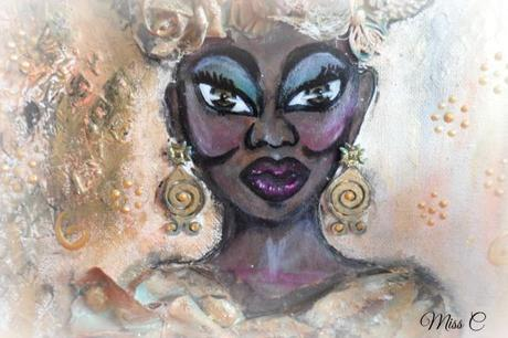 Canvas mixed media femme africaine
