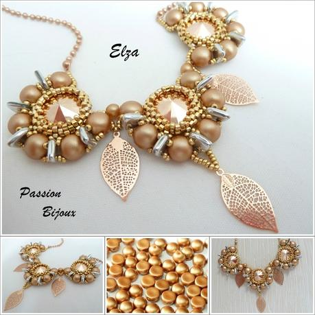 ELZA Collier Pastel Amber & Gold