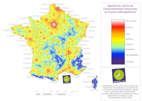 Carte de la pollution lumineuse en France - Crédits photo : ANPCEN