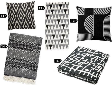 textiles deco noir et blanc