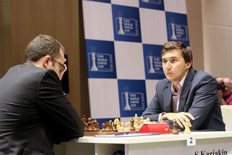 Le joueur d'échecs ukrainien Pavel Eljanov et le Russe Sergey Karjakin joueront les départages © site officiel
