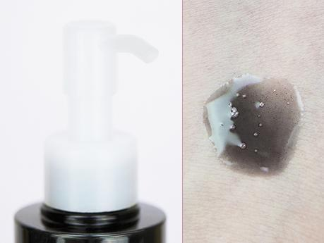 Huile-demaquillante-et-purifiante-coreenne-noire-au-ghassoul-IASO-cosmetics-packaging-flacon-pompe-et-texture