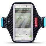 Samsung Galaxy S6 Edge Plus Étui, Shocksock Élastique Brassard Armband Sport pour Samsung Galaxy S6 Edge Plus Coque Cuir - Noir / Bleu