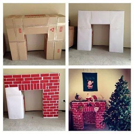 Fabriquer une cheminee en carton. fausse cheminée déco en carton DIY.