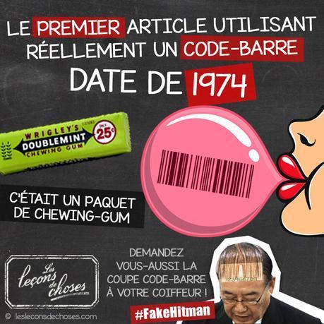 Premier code barre chewinggum 1974