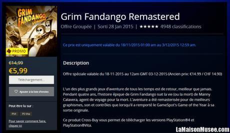 Bon Plan Grim Fandango PS4 PSVita
