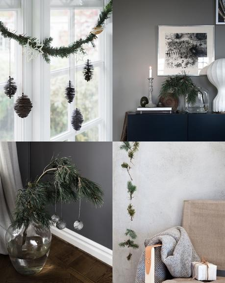 A natural decor with Christmas tree branches