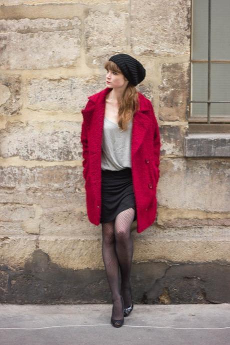 look manteau rouge