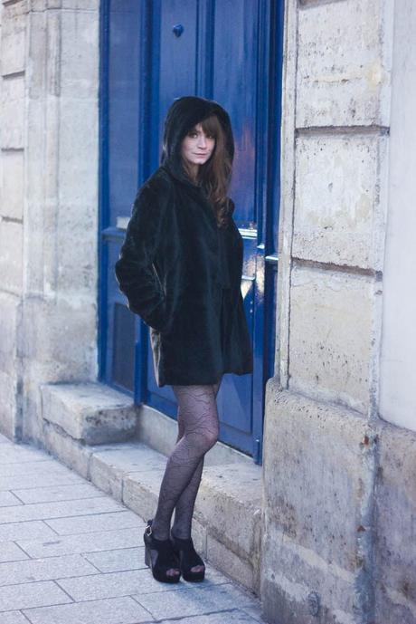 manteau fourrure noire